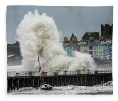 Huge Wave Hitting Aberystwyth Seafront Fleece Blanket