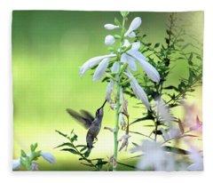 Hummingbird And Hosta Flowers Fleece Blanket