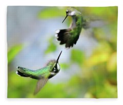 Hummingbirds Ensuing Battle Fleece Blanket
