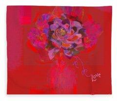 Hummingbirds Red Fantasy Fleece Blanket