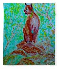 Hungry Mountain Lion Fleece Blanket