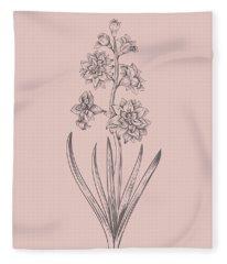 Hyacinth Blush Pink Flower Fleece Blanket