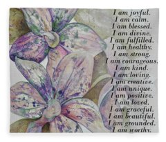 I Am...positive Affirmation Art In Lavendar And Rose Fleece Blanket