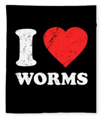 I Love Worms Fleece Blanket