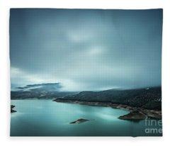 Iberian Blues Fleece Blanket