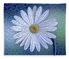 Ice Daisy Flower Fleece Blanket