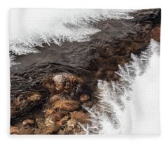 Ice Formations On Big Thompson River Fleece Blanket