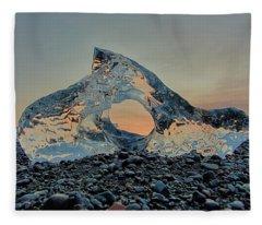 Iceland Diamond Beach Abstract  Ice Fleece Blanket