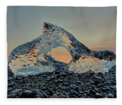Iceland Diamond Beach Abstract  Ice Fleece Blanket