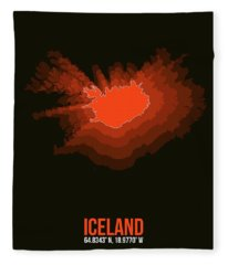 Iceland Radiant Map I Fleece Blanket