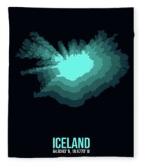 Iceland Radiant Map II Fleece Blanket