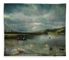 Idyllic Swans Lake Fleece Blanket