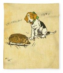 Puppy And Hedgehog, Illustration Of Fleece Blanket