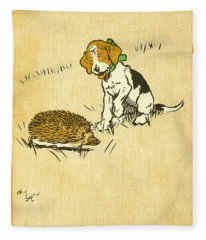 Puppy And Hedgehog, Illustration Of Fleece Blanket