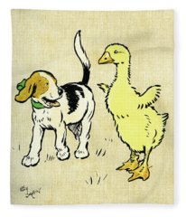 Illustration Of Puppy And Gosling Fleece Blanket