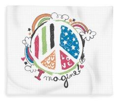 Imagine Love And Peace - Baby Room Nursery Art Poster Print Fleece Blanket