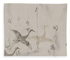 Imperial Anthology, Kokinshu, Momoyama Or Edo Period  Fleece Blanket