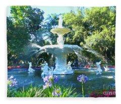 Impressionist Forsyth Park Fountain Fleece Blanket