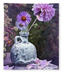 In A Purple Garden Fleece Blanket
