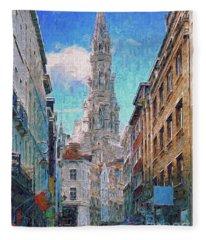 In-spired  Street Scene Brussels Fleece Blanket