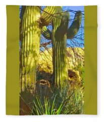 Fleece Blanket featuring the photograph In The Shadow Of Saguaros by Judy Kennedy