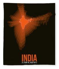 India Radiant Map 1 Fleece Blanket