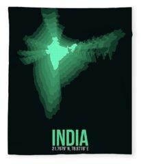 India Radiant Map 3 Fleece Blanket