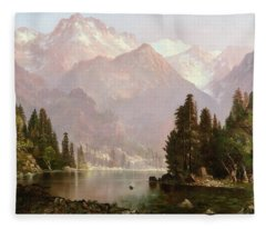 Indian Encampment In The Sierra, 1873 Fleece Blanket