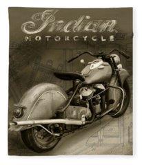 Indian Motorcycle Sepia Vintage Fleece Blanket