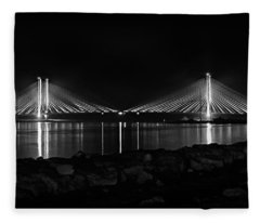 Indian River Bridge After Dark In Black And White Fleece Blanket