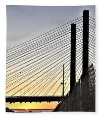 Indian River Inlet Bridge Sunset Fleece Blanket