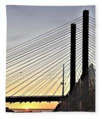 Indian River Inlet Bridge Sunset Fleece Blanket