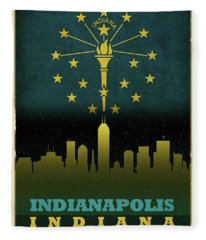 Indianapolis City Skyline State Flag Of Indiana Fleece Blanket