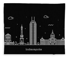 Indianapolis Skyline Travel Poster Fleece Blanket