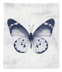 Indigo And White Butterfly 1- Art By Linda Woods Fleece Blanket