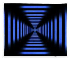 Infinity Tunnel Blue Pixels Fleece Blanket