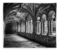 Interior Corridors Of The Monastery Of Santo Estevo De Ribas Del Sil Fleece Blanket