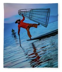 Intha Fisherman On Inle Lake Fleece Blanket