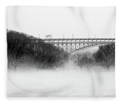 Inwood Hill With Fog Fleece Blanket