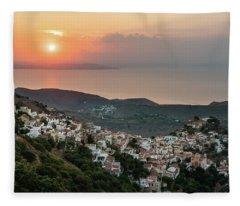 Ioulis Town Sunset, Kea Fleece Blanket