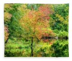 Ipswich River Reflections, Topsfield Ma.  Fleece Blanket