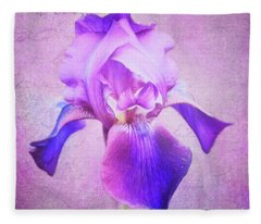Pretty In Purple Iris Fleece Blanket