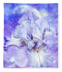 Fleece Blanket featuring the mixed media Iris - Goddess Of Dreams by Carol Cavalaris