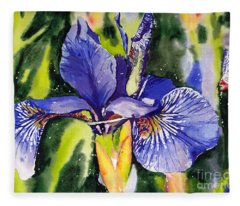 Iris In Bloom Fleece Blanket