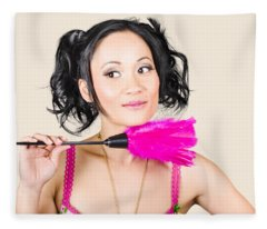 Isolated Hotel Maid Thinking With Feather Duster Fleece Blanket