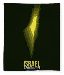 Israel Radiant Map 2 Fleece Blanket