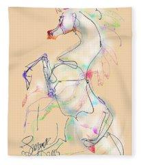 Ivory Horse Rising Fleece Blanket