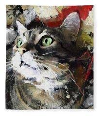 Jack The Green Eyed Manx Cat Fleece Blanket