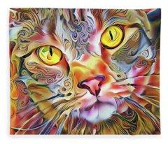 Jack The Tabby Cat Fleece Blanket