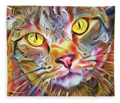 Jack The Tabby Cat Fleece Blanket